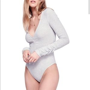 Free People Cozy Up With Me Ribbed Bodysuit Large